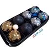 Изображение Петанк, стальной + золотой + чёрный + радужный, 8 шаров