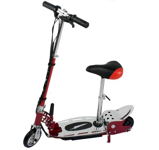 Picture of Электросамокат Zilmer двухколёсный с сиденьем «Z140С» красно-серебряный