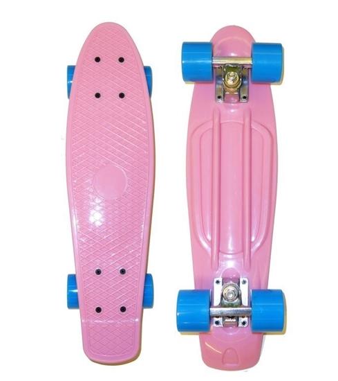 Picture of Скейт Cruiser Board, OPTIMA ABEC 7, розовый с голубыми колесами