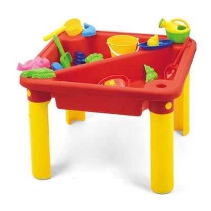 Изображение Стол с крышкой для игр с песком и водой Hualian Toys «Веселое время» (в комплекте набор для песка из 16 предметов, 60*60*H44)
