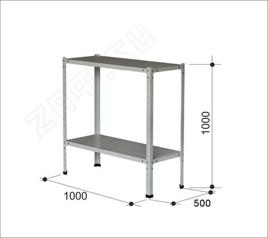 Изображение Металлический стеллаж, 2 полки, 1000×1000×500 мм
