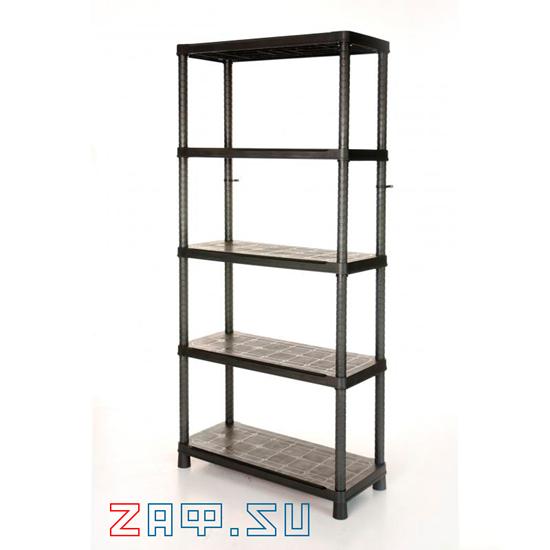 Изображение Стеллаж пластиковый,  5 полок, 187×90×40 см, черный