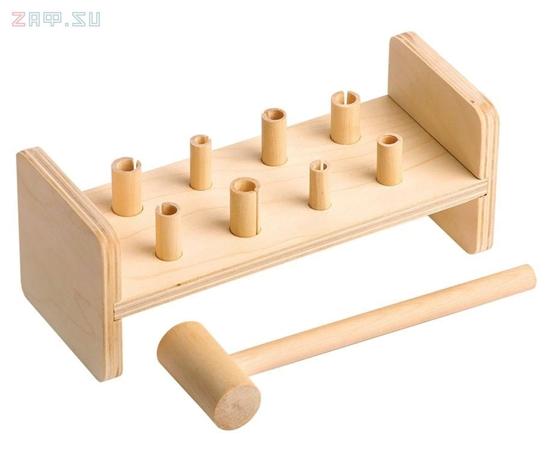 Изображение Деревянная развивающая игра Пелси «Гвозди-перевертыши» (8 гвоздиков)