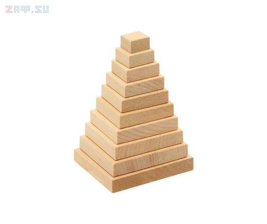 Изображение Деревянная развивающая игра Пелси пирамидка «Квадрат»