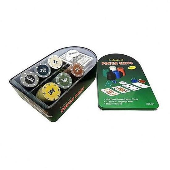 Изображение 120 фишек покерный набор в металлической коробке (без карт)