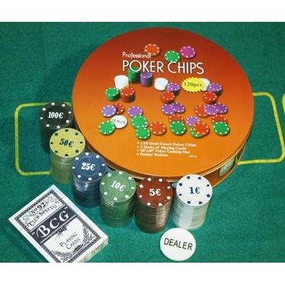 Изображение 120 фишек, покерный набор в круглой металлической упаковке