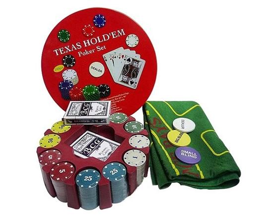 Изображение Набор для покера Texas Holdem на 240 фишек (металлическая круглая коробка)
