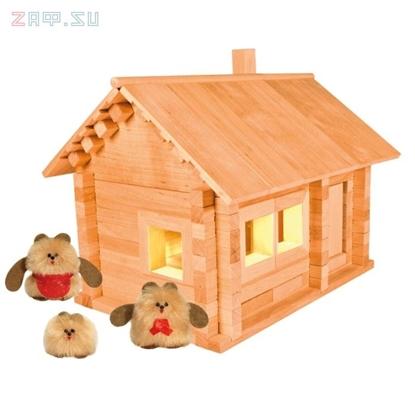 Picture of Конструктор из дерева «Избушка три медведя с куклами и электропроводкой»
