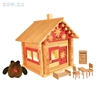 Изображение Конструктор Избушка три медведя с куклами, мебелью, росписью и электропроводкой