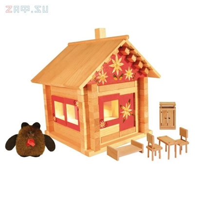 Picture of Конструктор Избушка три медведя с куклами, мебелью, росписью и электропроводкой