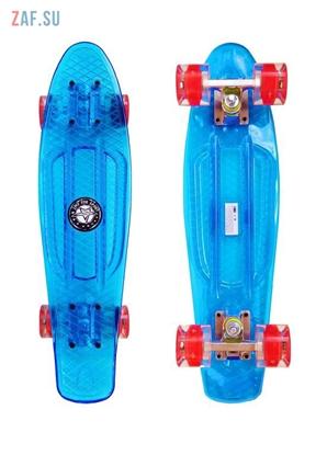 """Изображение Скейт Cruiser Board """"Street Hit"""" Crystal Голубой со светящимися красными колесами"""