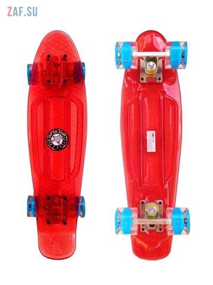 """Изображение Скейт Cruiser Board """"Street Hit"""" Crystal Красный со светящимися синими колесами"""