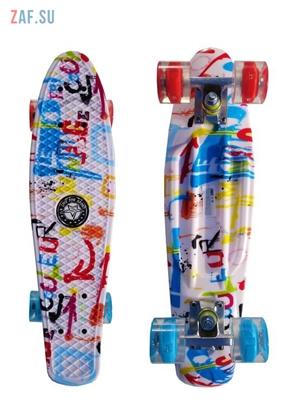 """Изображение Скейт Cruiser Board """"Street Hit"""" Graphics Граффити со светящимися синими и красными колесами"""
