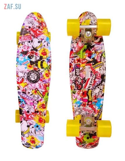 "Изображение Скейт Cruiser Board ""Street Hit"" Graphics Лого с желтыми колесами"
