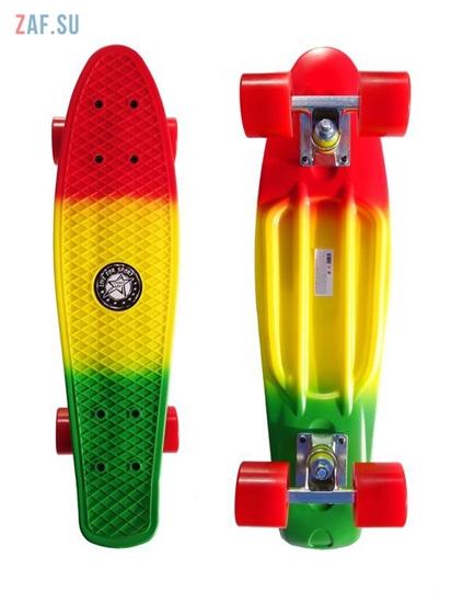 """Изображение Скейт Cruiser Board """"Street Hit"""" Mix Красный/зеленый"""