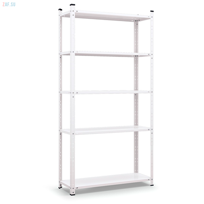 Стеллаж складской металлический, размеры 200×100×40 см, 5 полок, белый