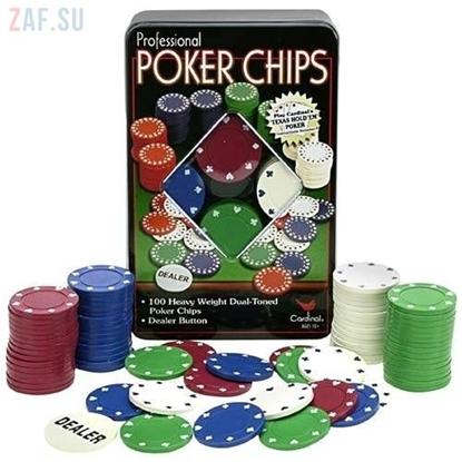 Набор для покера в жестяной коробке, 100 фишек