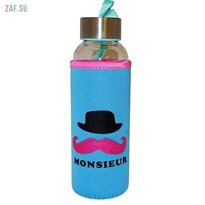 Изображение Стеклянная бутылка в чехле Monsieur бирюзовая, 360 мл, арт. BLB5016
