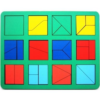 """Развивающее пособие из дерева """"Сложи квадрат"""",  1 уровень (макси)"""