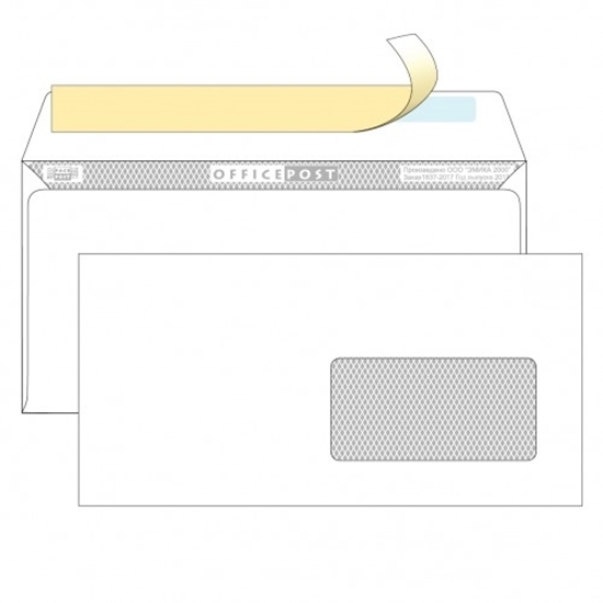 Почтовый конверт DL ОФИСПОСТ, со стрипом, правое окно (45×90 мм), 1000 шт.