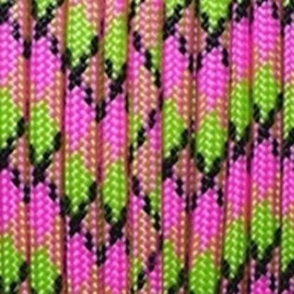 """Паракорд 550,  розовый+зеленый камуфляж """"Pink+green camo"""" (4 мм), 30 метров"""
