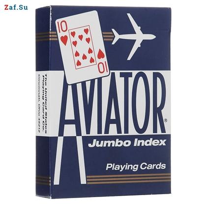 Picture of Игральные карты Aviator, покерный размер, большой индекс (синие)