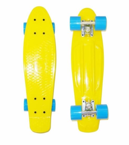 Изображение Скейт Cruiser Board, OPTIMA ABEC 7, желтый с голубыми колесами