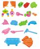 Picture of Стол для игр с песком и водой Hualian Toys «Водяные мельницы» (в комплекте набор для песка из 18 предметов, 48*48*H36)