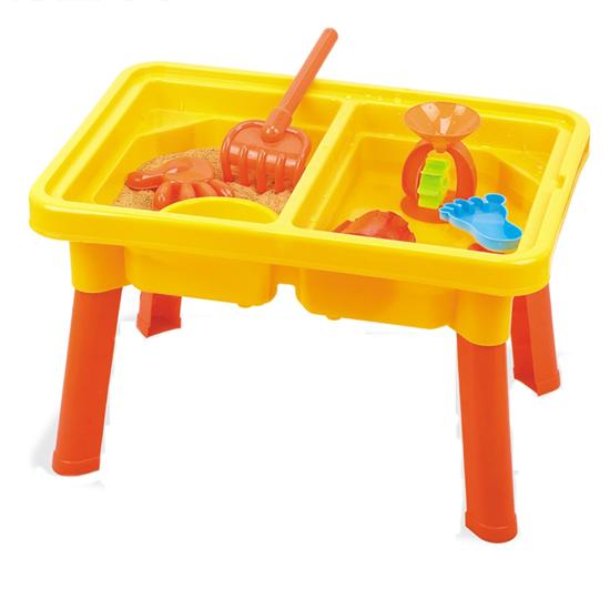 Изображение Стол с крышкой и стулом для игр с песком и водой Hualian Toys «Водяная круговерть» (в комплекте набор для песка из 10 предметов, 58*41*H37)