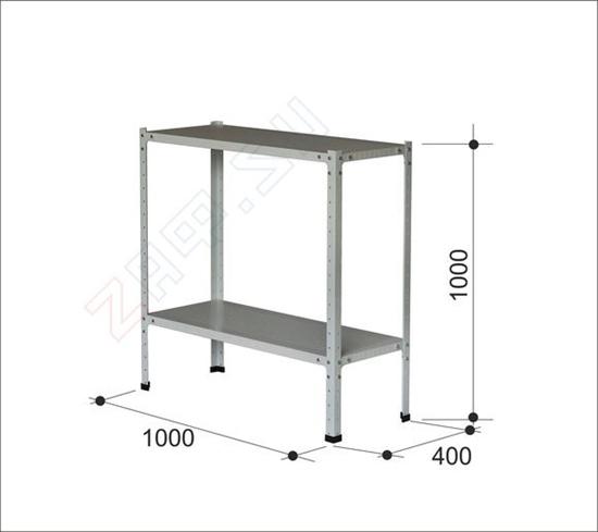 Изображение Металлический стеллаж, 2 полки, 1000×1000×400 мм