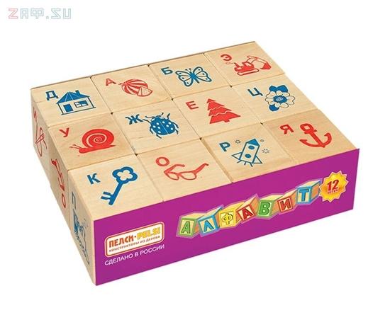 Изображение Деревянная развивающая игра Пелси кубики «Алфавит» (12 штук)