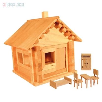 Picture of Конструктор из дерева «Избушка теремок с мебелью»