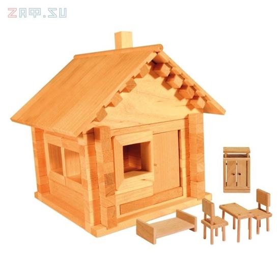 Изображение Конструктор из дерева «Избушка теремок с мебелью»