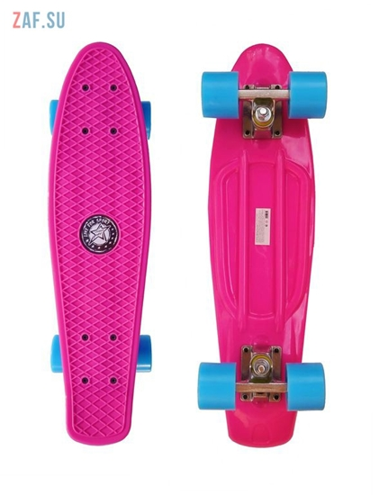 Изображение Скейт Cruiser Board Street Hit Classic Розовый с голубыми колесами