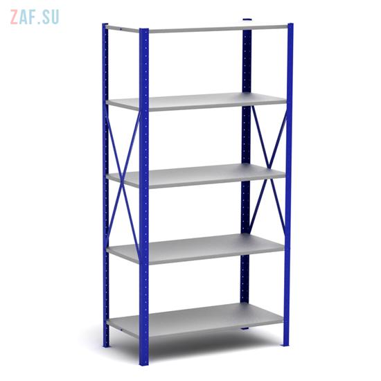 Стеллаж складской металлический, размеры 200×100×30 см, 5 полок, серый