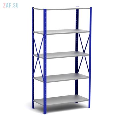 Стеллаж складской металлический, размеры 200×100×40 см, 5 полок, серый