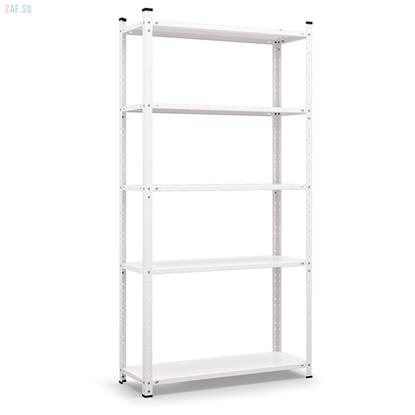 Стеллаж складской металлический, размеры 200×100×30 см, 5 полок, белый