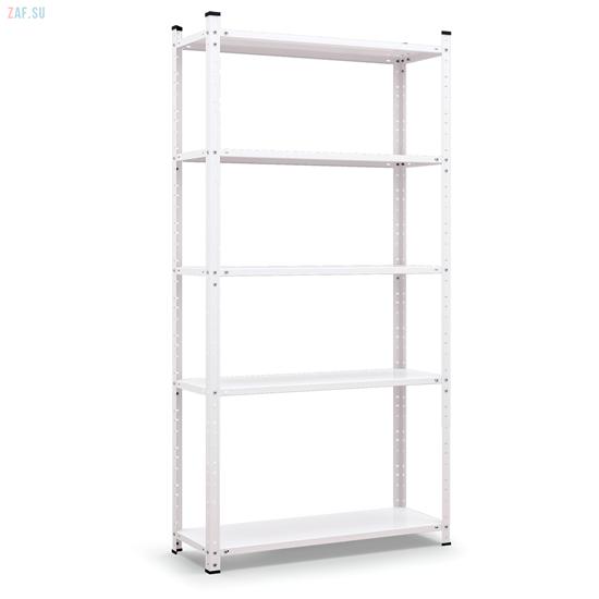 Стеллаж складской металлический, размеры 200×100×60 см, 5 полок, белый
