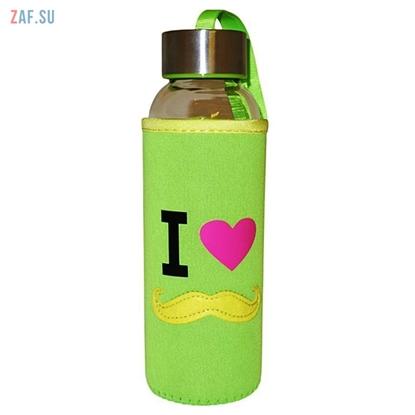 Picture of Стеклянная бутылка в чехле Monsieur зеленая, 360 мл, арт. BLB5019