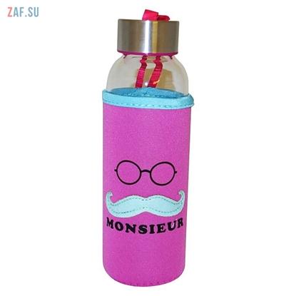 Picture of Стеклянная бутылка в чехле Monsieur розовая, 360 мл, арт. BLB5018