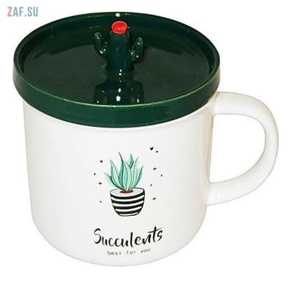 Изображение Керамическая кружка Succulents Суккулент, 380 мл, арт. HD295