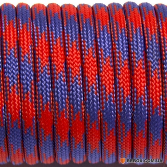 "Паракорд 550, красный+фиолетовый ""Red+purple"" (4 мм), 30 метров"