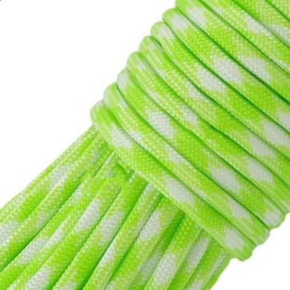 "Паракорд 550, флуоресцентный зеленый+белый ""Fluour green+white"" (4 мм), 30 метров"