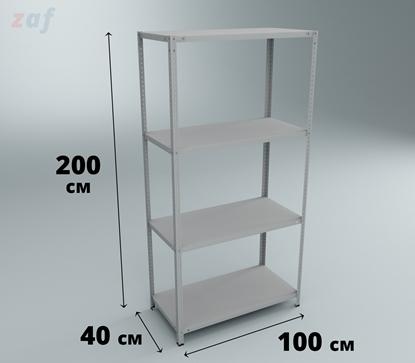 Металлический стеллаж 200×100×40 см, 4 полки, нагр. 150 кг