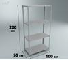 Металлический стеллаж 200×100×50 см, 4 полки, нагр. 150 кг