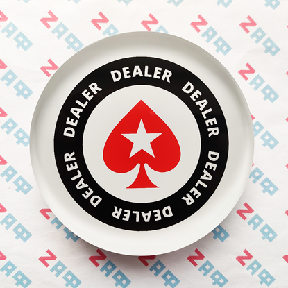 Кнопка дилера POKERSTARS Red Poker Spade, прозрачный акрил, 80×20 мм