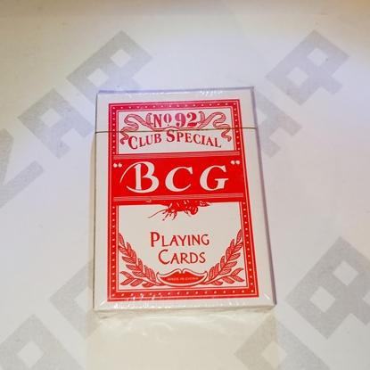 Изображение Карты игральные BCG, бумажные с пласт. покрытием, 54 карты, красная рубашка