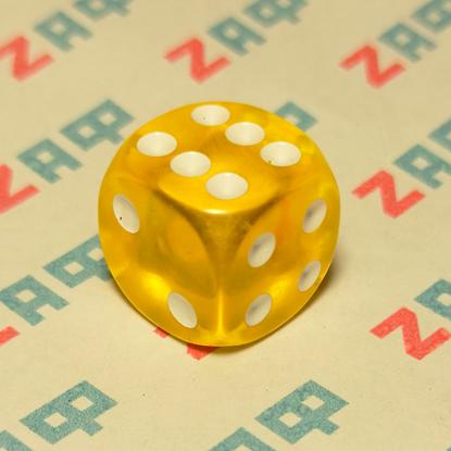 Игральные кости, 6 граней, жёлтые, 16×16 мм, пластик