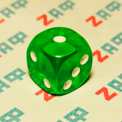 Игральные кости, 6 граней, зелёные, 16×16 мм, пластик