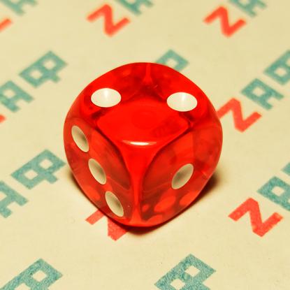 Игральные кости, 6 граней, красные, 16×16 мм